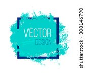 blue rough acrylic paint stain... | Shutterstock .eps vector #308146790