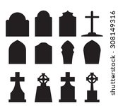 set of headstone  headstone and ... | Shutterstock .eps vector #308149316