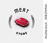 meat store badges logos and... | Shutterstock .eps vector #308194964