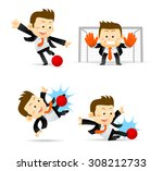 set of businessman playing... | Shutterstock .eps vector #308212733