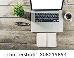 work space  laptop | Shutterstock . vector #308219894