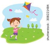 girl playing kite. vector...   Shutterstock .eps vector #308221484