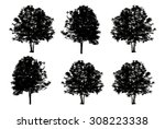 set of six trees silhouette... | Shutterstock . vector #308223338
