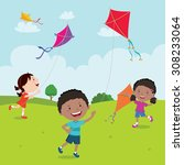 kids playing with kites. vector ... | Shutterstock .eps vector #308233064