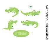 vector  set with cute cartoon... | Shutterstock .eps vector #308238299