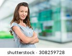 woman outside the business... | Shutterstock . vector #308259728