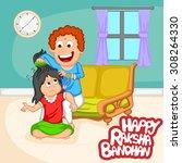 brother and sister in raksha... | Shutterstock .eps vector #308264330