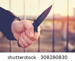 hand with knife. street... | Shutterstock . vector #308280830