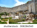 the wall of the old city of... | Shutterstock . vector #308286560