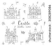 set of hand drawn cartoon fairy ... | Shutterstock .eps vector #308289086