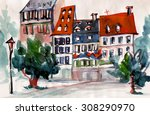 cute houses with red roofs... | Shutterstock . vector #308290970