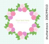 three flowers with green leaves ... | Shutterstock .eps vector #308299010