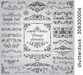 decorative vintage hand drawn... | Shutterstock . vector #308300006