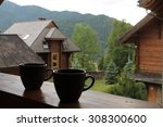 two cups  in carpathian... | Shutterstock . vector #308300600