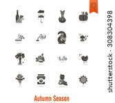 set of flat autumn icons.... | Shutterstock .eps vector #308304398