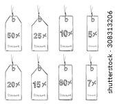 vector set of sketch discount... | Shutterstock .eps vector #308313206