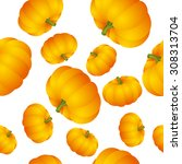 pumpkin repeated on white... | Shutterstock .eps vector #308313704
