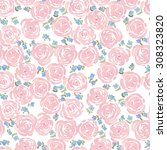 hand drawn watercolor roses and ... | Shutterstock . vector #308323820