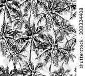 seamless vector monochrome... | Shutterstock .eps vector #308324408