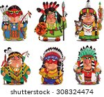 cartoon indians. funny ... | Shutterstock .eps vector #308324474