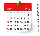 July 2016   Calendar. Isolated...
