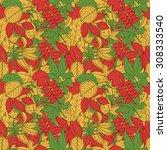 autumn leaves seamless pattern | Shutterstock .eps vector #308333540