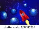 rocket in space | Shutterstock .eps vector #308336993