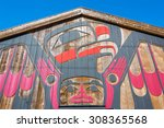 Small photo of Tofino, Vancouver Island, BC August 13, 2015 - Beautiful First Nations art on front of the Eagle Aerie Gallery, which is owned, operated & showcases traditional artwork by artist Roy Henry Vickers.