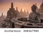 buddist temple borobudur taken...   Shutterstock . vector #308367980