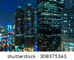 chicago downtown at night in... | Shutterstock . vector #308375363
