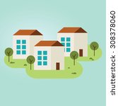 three houses in the village.... | Shutterstock .eps vector #308378060