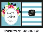 invitation with floral... | Shutterstock .eps vector #308382350