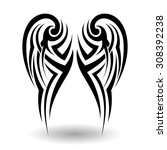 hand drawn tribal tattoo in... | Shutterstock .eps vector #308392238