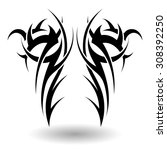 hand drawn tribal tattoo in... | Shutterstock .eps vector #308392250