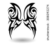 hand drawn tribal tattoo in... | Shutterstock .eps vector #308392274