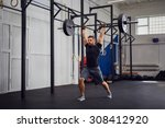 muscular man training lunges... | Shutterstock . vector #308412920