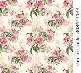 seamless pattern delicate... | Shutterstock . vector #308414144