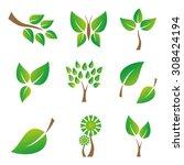 set of green leaves design... | Shutterstock .eps vector #308424194