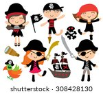 kawaii cute pirate kids  pirate ... | Shutterstock .eps vector #308428130