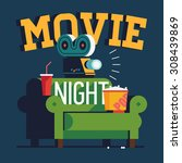 cool vector 'movie night' flat... | Shutterstock .eps vector #308439869