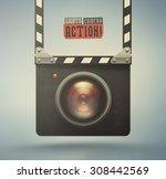 clapper board and video camera  ... | Shutterstock .eps vector #308442569