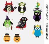 Spooky Halloween Owls Vector....