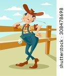 cheerful farmer character. .... | Shutterstock .eps vector #308478698