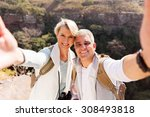happy hiking couple taking... | Shutterstock . vector #308493818