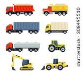 trucks and tractors set. flat... | Shutterstock .eps vector #308495510
