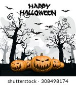 halloween background with ghost ... | Shutterstock .eps vector #308498174