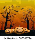 halloween background with ghost ... | Shutterstock .eps vector #308501714