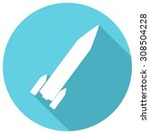 rocket flat icon with long... | Shutterstock . vector #308504228