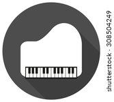 piano icon on white circle with ... | Shutterstock . vector #308504249
