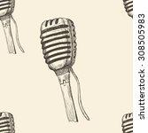 doodle microphone seamless... | Shutterstock . vector #308505983